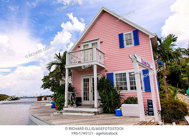 Pink cottage along the harbor in the tiny village of Hope Town, Elbow Cay Abacos, Bahamas