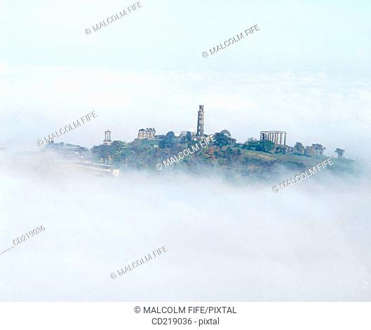 Calton Hill in the mist. Edinburgh. Scotland