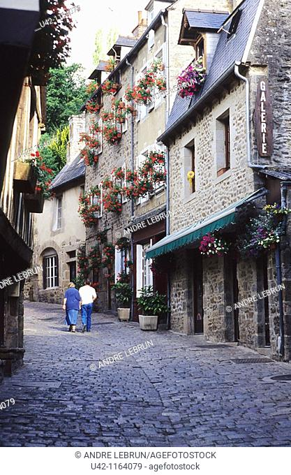 The cobbled street of rue du Petit Fort in Dinan in the Brittany region of France