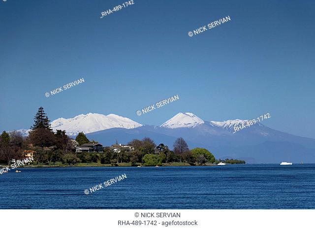 Mount Ruapehu, Ngauruhoe and Tongariro (active volcanoes) from Lake Taupo, North Island, New Zealand, Pacific