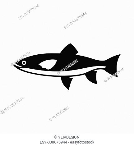 Fish icon in simple style isolated illustration