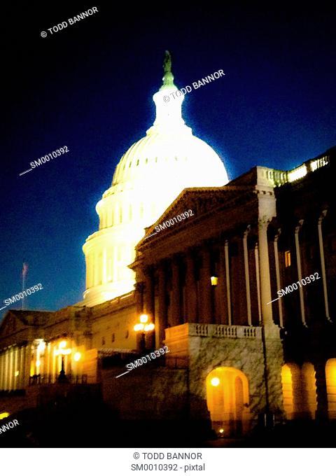 United States Capitol Building at night. Washington DC