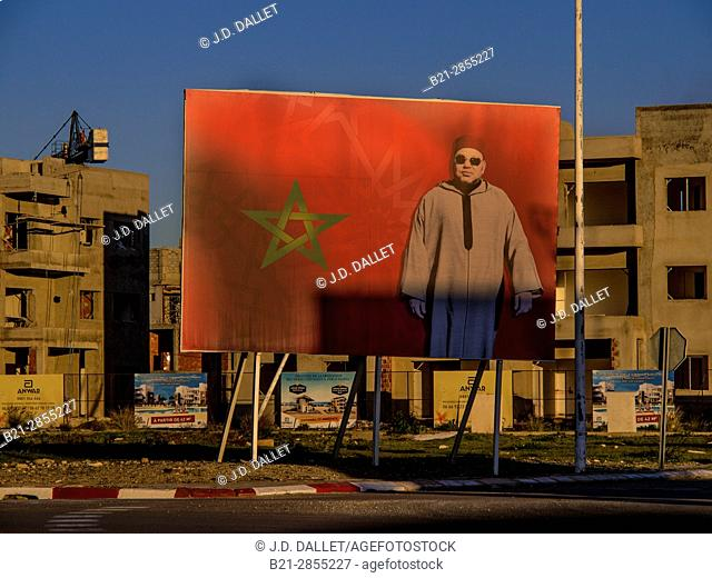 Morocco, construction boom at Saidia, with a giant picture of King Mohamed VI