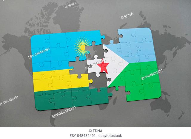 puzzle with the national flag of rwanda and djibouti on a world map background. 3D illustration