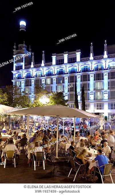 Terraces at Santa Ana square by night. Madrid. Spain