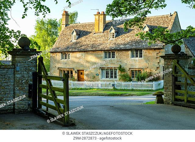 Spring evening in Buckland village in the Cotswolds, Gloucestershire, England