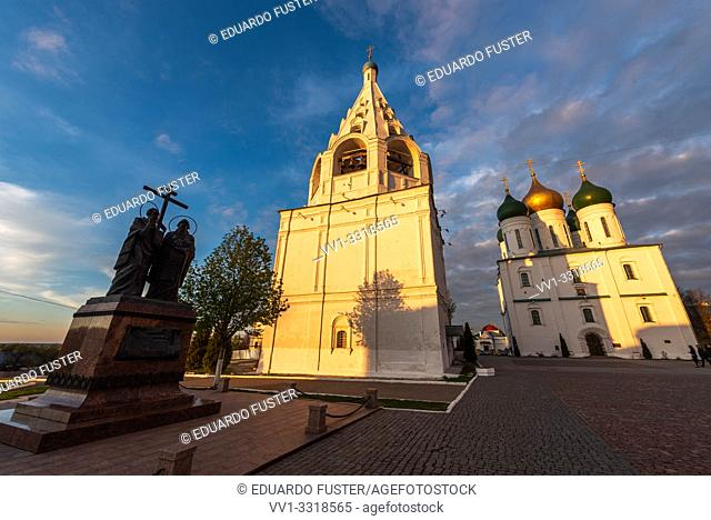 Kolomna, Russia, View of the Cathedral Square in the old Kolomna Kremlin, landmark