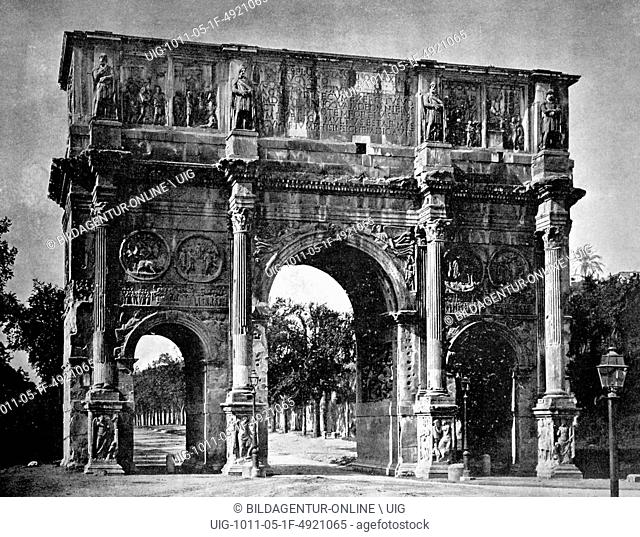 Early autotype of the arch of constantine, rome, lazio, italy, historical photograph, 1884