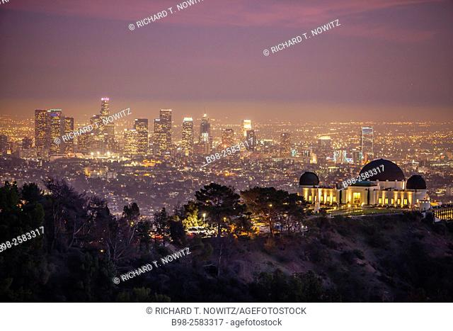 Griffith Observatory and downtown Los Angeles at night, California, USA
