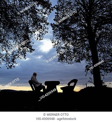 Eighties, symbolism, loneliness, young woman sitting on a bench under a tree, another bench is vacant, vacant seat, table, evening mood, sunset, dark clouds