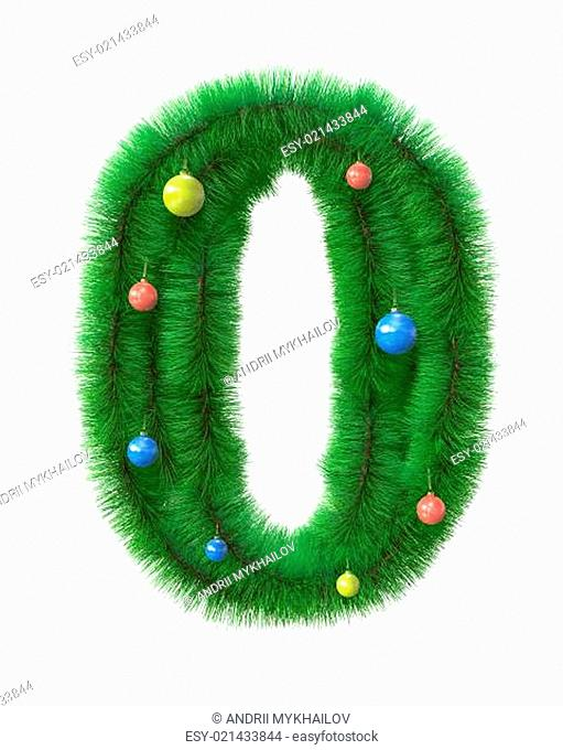 0 number made of christmas tree branches