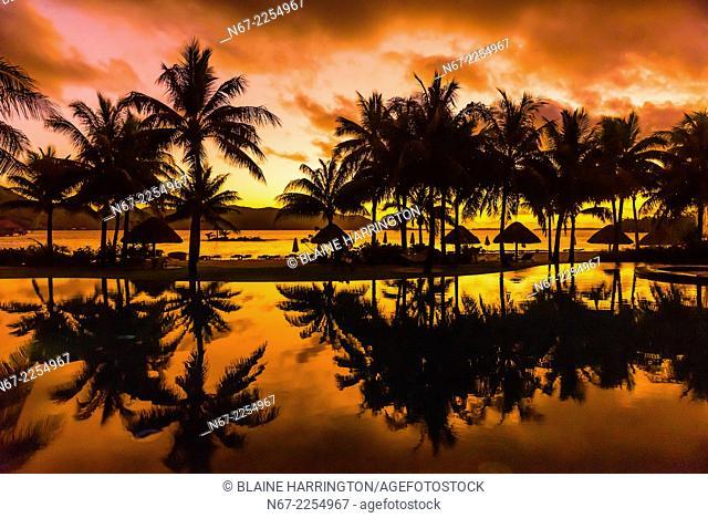 Reflection of palm trees into swimming pool, Four Seasons Resort Bora Bora on Motu Tehotu, Bora Bora, Society Islands, French Polynesia