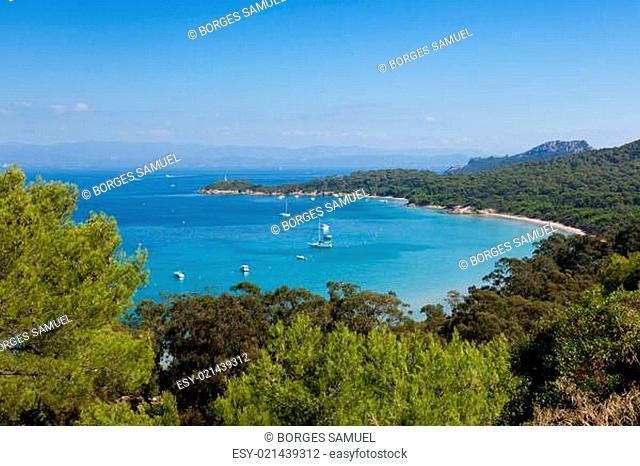 Porquerolles island bay in France