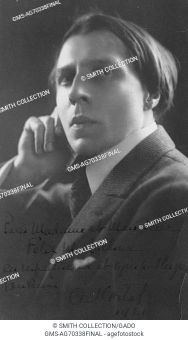 Headshot of Alfred Cortot, Swiss-French pianist and conductor, one of the most renowned 20th century classical musicians, 1911