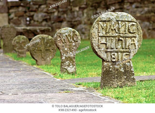 Gravestones, church of the Assumption (18th century), Etxalar, Navarra, Spain