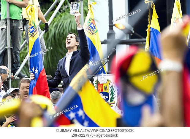 Juan Guaidó, president of the National Assembly, swearing in as Acting President of the Republic of VenezuelaProtests against the government of Maduro made on...