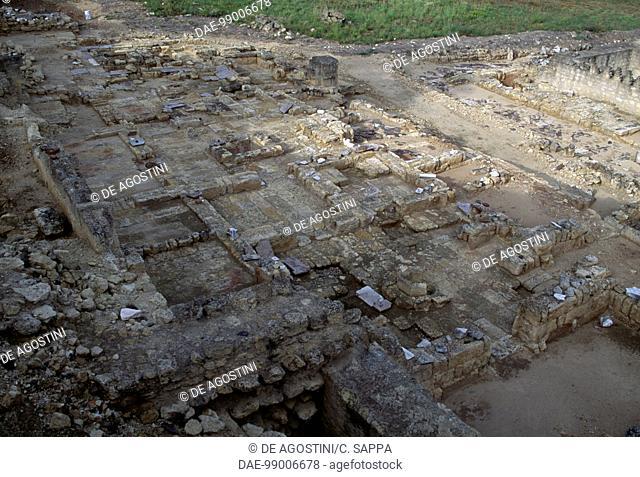 Remains of Mezquita (Mosque) Aljama, Medina Azahara, Arab medieval palace-city, Cordoba, Andalusia. Spain, 10th century