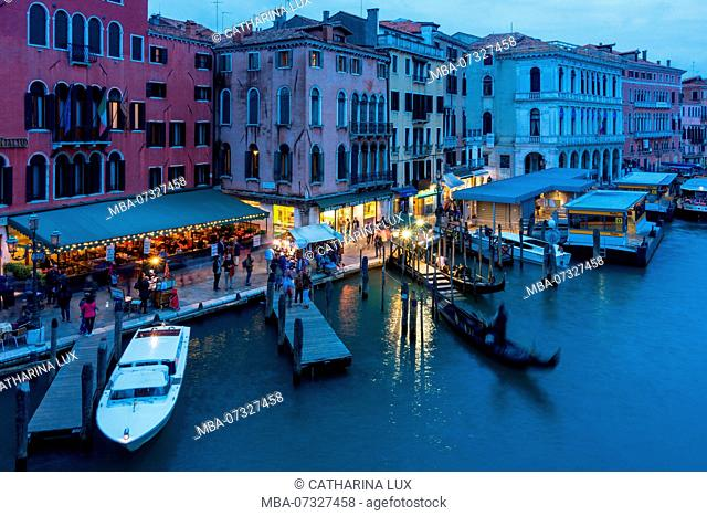 Venice, Grand Canal, view from the Rialto Bridge, blue hour