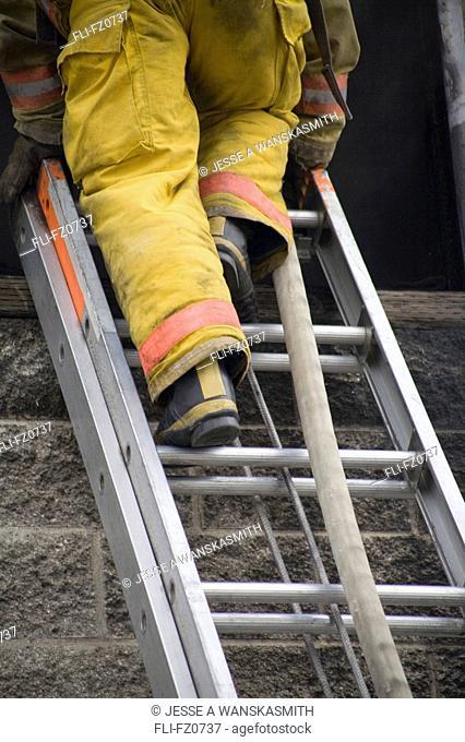 Firefighter exits training building, Spokane, Washington