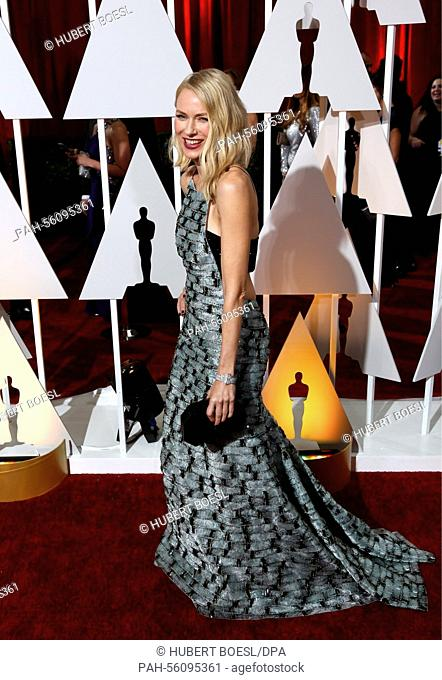 Actress Naomi Watts attends the 87th Academy Awards, Oscars, at Dolby Theatre in Los Angeles, USA, on 22 February 2015. Photo: Hubert Boesl - NO WIRE SERVICE -...
