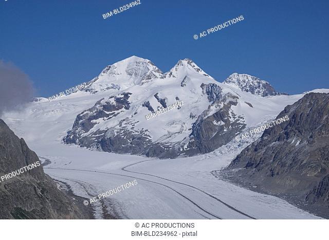 Snowy mountain road, Aletsch Glacier, Canton Graubunden, Switzerland