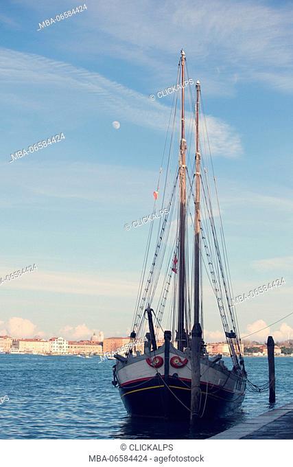 Europe, Italy, Veneto, Venice district Ship docked along the canal Grande