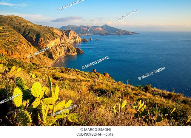 View of Lipari and Vulcano island from Belvedere Quattrocchi, Sicily, Italy