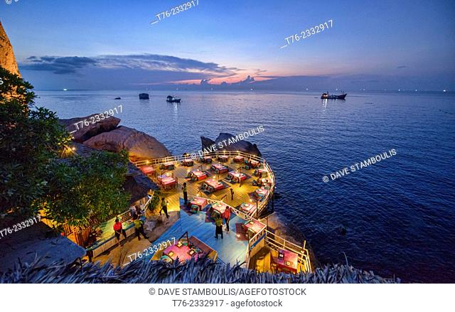 Romantic restaurant overlooking the Gulf of Thailand on Koh Tao, Thailand