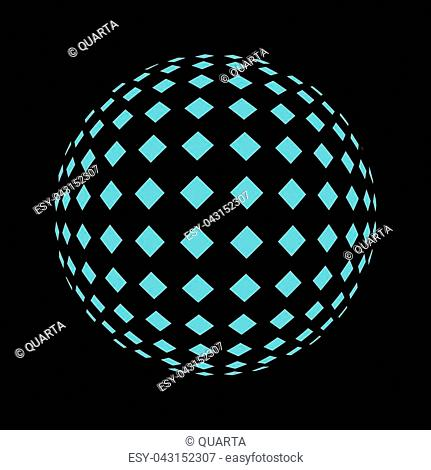 Set of abstract round 3d bright blue sphere consisting of dots in form of halftone. Scientific and technical frame illustration