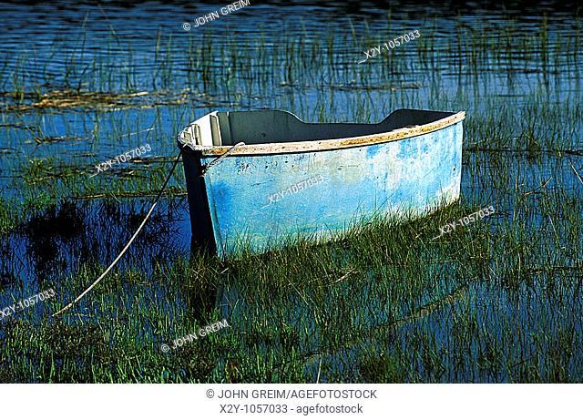 Small row boat in marsh grass