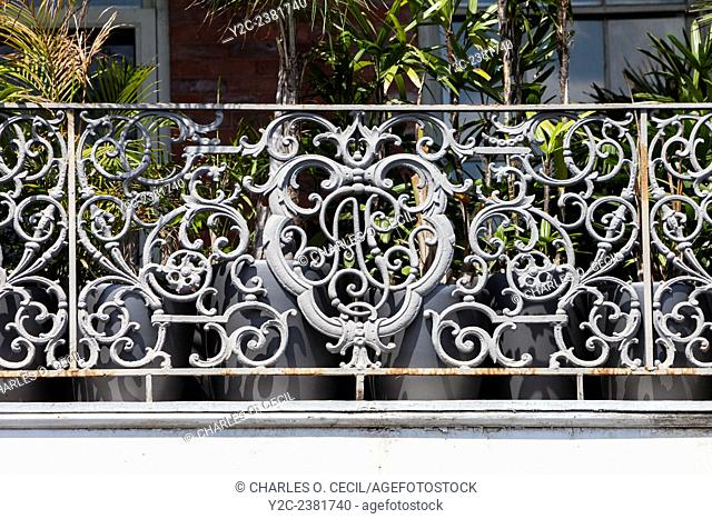 New Orleans, Louisiana. French Quarter. Emblem of the Baroness Pontalba in Cast-iron Grillwork of the Lower Pontalba Building, Built 1851