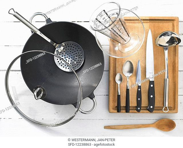 Kitchen utensils for making braised baby bok choy with tofu and shiitake mushrooms
