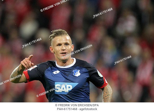 Hoffenheim's Jonathan Schmid celebrates 0-1 goal during the German Bundesliga soccer match between 1. FSV Mainz 05 and TSG 1899 Hoffenheim at the Coface Arena...