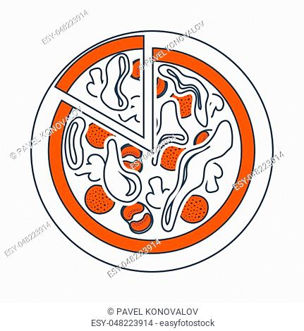 Icon Of Pizza On Plate. Thin Line With Red Fill Design. Vector Illustration