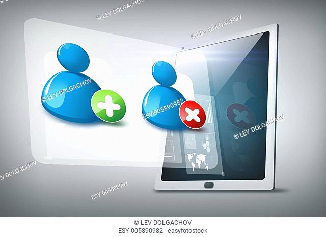 technology, internet and networking concept - illustration of tablet pc with contact icons