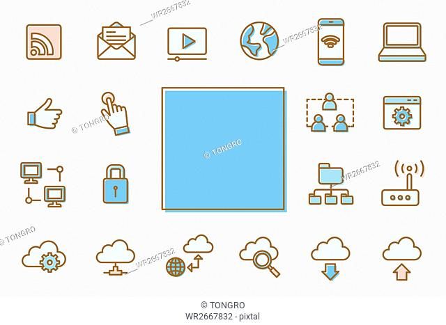 Various line icons related to internet