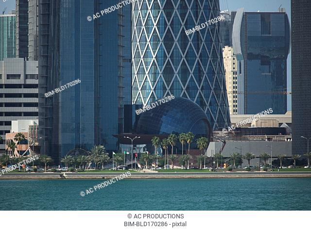 Doha highrise buildings over waterfront, Doha, Qatar