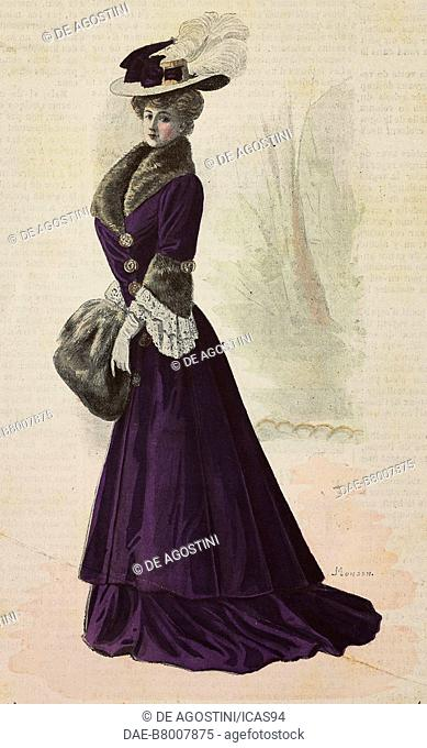 Woman wearing a walking dress, redingote with lace inserts and sable fur, felt hat with ostrich feather, creation by Mademoiselle Louise Piret