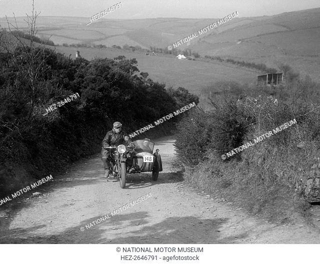 497 cc Ariel and sidecar of R Newman at the MCC Lands End Trial, Beggars Roost, Devon, 1936. Artist: Bill Brunell