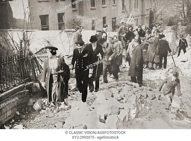 George VI and Queen Elizabeth visiting the damaged streets of Bath, England in 1942 during WWII. George VI, 1895 - 1952. King of the United Kingdom and the...