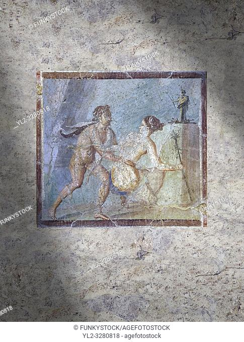 Roman Erotic Fresco from Pompeii, 1st cent AD , workshop Banner showing Mercury with a massive phalus , Secret Museum or Secret Cabinet