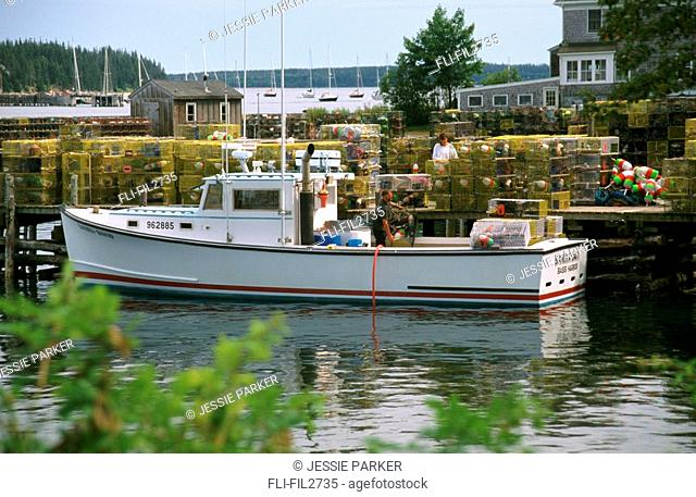 Lobster Boat and Traps, Bar Harbour, Maine