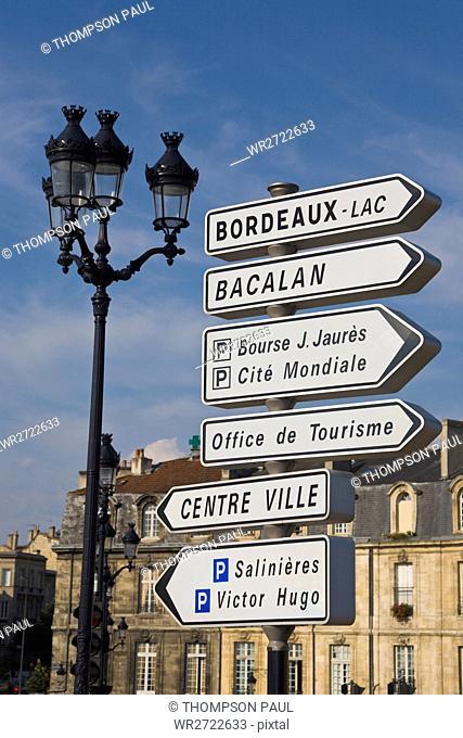 Sign posts, Bordeaux, Gironde, France