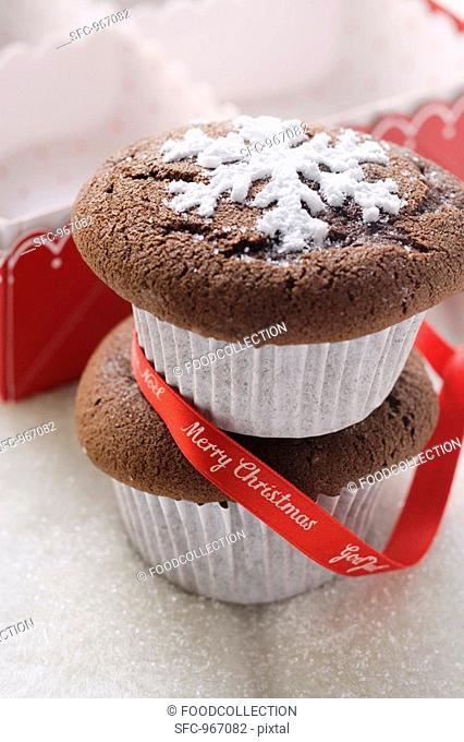 Two chocolate muffins for Christmas