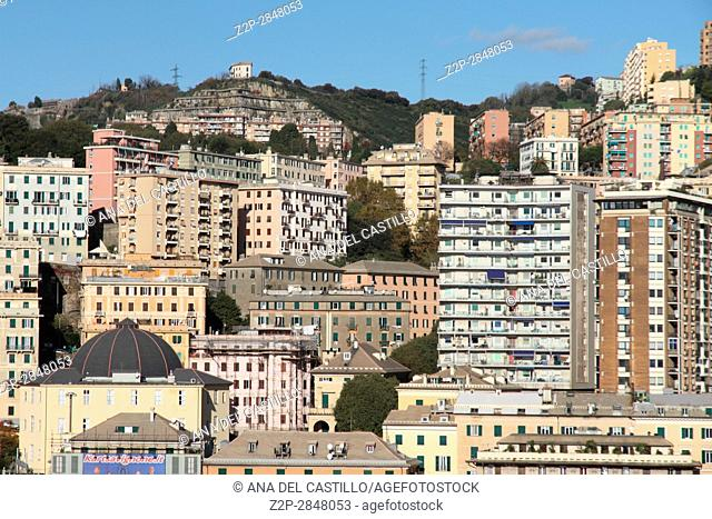 GENOA ITALY-NOVEMBER 15, 2014: Panorama from a cruise ship. The Port of Genoa is a major Italian seaport on the Mediterranean Sea on Nov 15, 2014 in Genoa