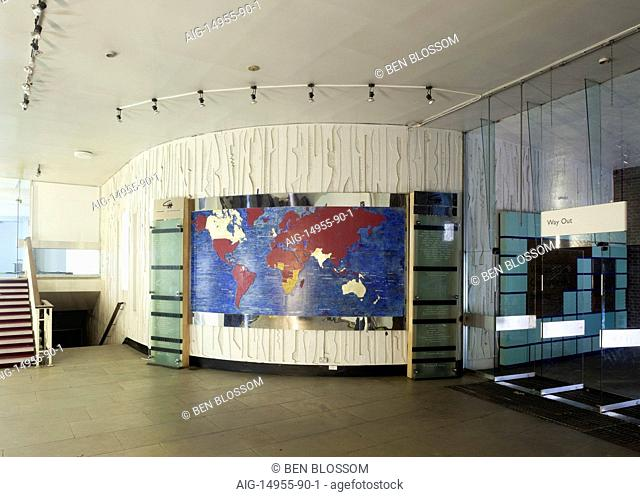 World map on curved wall in Commonwealth Institute to be converted into the new Design Museum, Kensington, London, UK