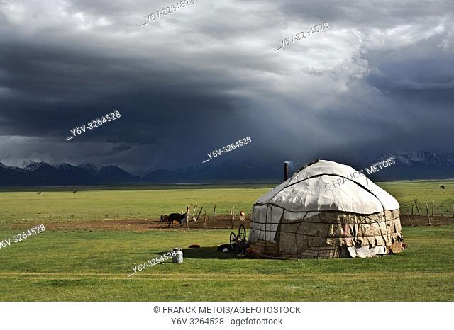 Yurt in the Alay valley. Pamir range is visible in the background ( Kyrgyzstan)