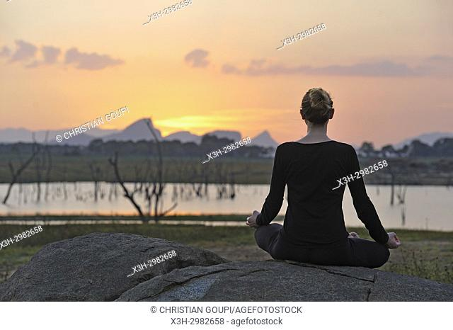 young woman practising yoga posture by the Senanayake Samudraya Lake, Gal Oya National Park, Sri Lanka, Indian subcontinent, South Asia