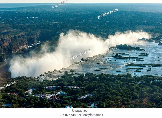 Aerial view of line of Victoria Falls