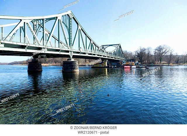 Glienicker bridge with push boat